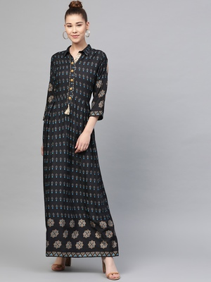 Black printed liva long-kurtis