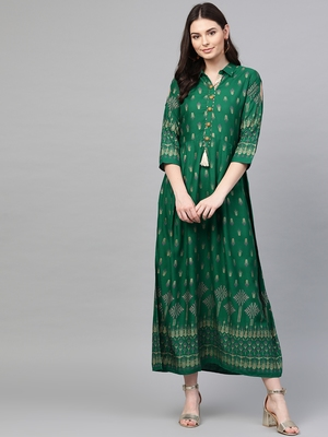 Green printed liva long-kurtis