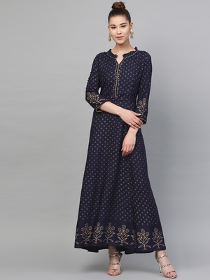 Navy-blue printed liva long-kurtis