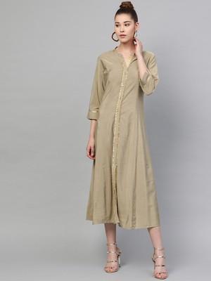 Beige plain polyester long-kurtis