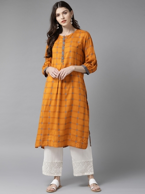 Orange printed liva ethnic-kurtis