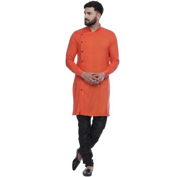 Orange plain rayon men-kurtas
