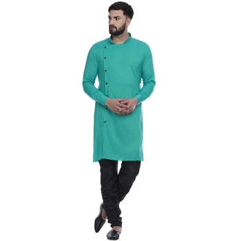 Green plain rayon men-kurtas