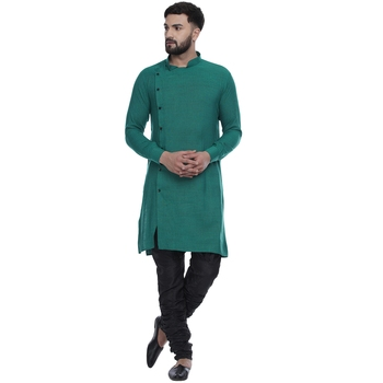 Green plain rayon men-kurtas