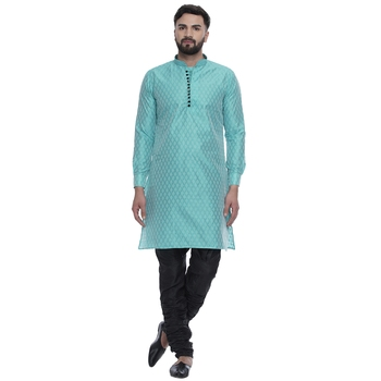 Green brasso jacquard men-kurtas