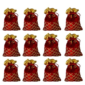 Potli Pouch Combo with Criss-Cross Gota Strips Maroon Color Silk and Velvet Fabric (Pack of 12)