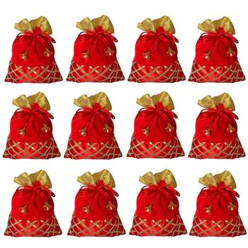 Potli Pouch Combo with Criss-Cross Gota Strips Red Color Silk and Velvet Fabric (Pack of 12)