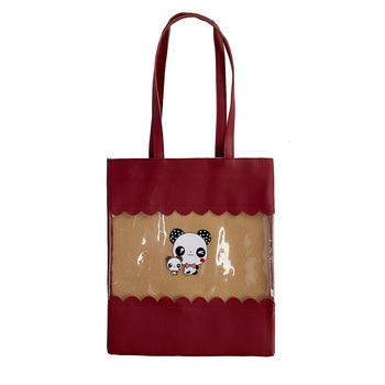 Shree Shyam Products Maroon Tote Bag Transparent Shoulder Bag See Through Beach Bag With Small Clear  For Women/Girls