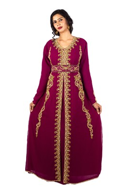 Wine embroidered georgette islamic-kaftans