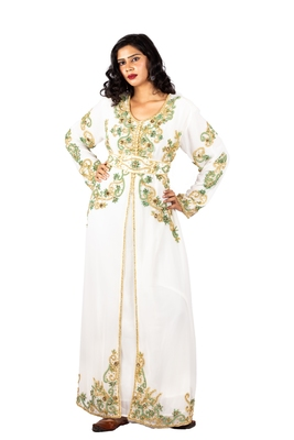 Off-white embroidered georgette islamic-kaftans