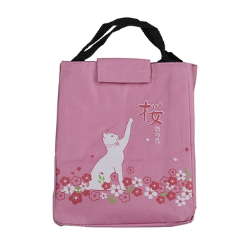 Shree Shyam Products Pink Cat Print Lunch Bag Insulated Fabric & Double Handle For Unisex Large Capacity (1 Pc Set)