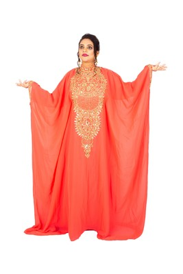 Light-red embroidered georgette islamic-kaftans