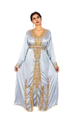 Blue embroidered satin islamic-kaftans