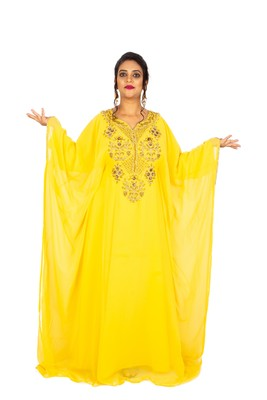 Yellow embroidered georgette islamic-kaftans
