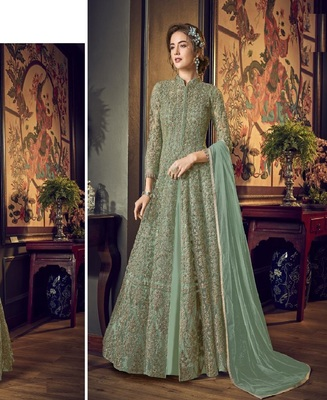 See Green Full  Embroidery & Cording Sequences Work Net Fabric Semi Suit