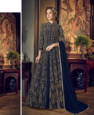 Blue Full  Embroidery & Cording Sequences Work Net Fabric Semi Suit