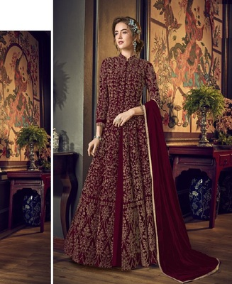 Wine Full  Embroidery & Cording Sequences Work Net Fabric Semi Suit