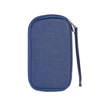 Blue Travel Wallet Document Organizer Passport Organizer  Bag Set Of 1 Pcs