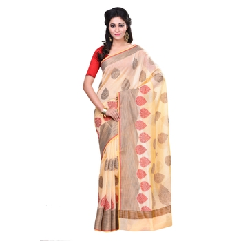 Cream woven blended cotton saree with blouse