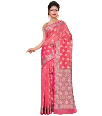 Peach hand woven blended cotton saree with blouse