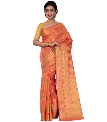 Orange hand woven blended cotton saree with blouse
