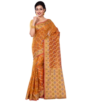 Gold hand woven blended cotton saree with blouse