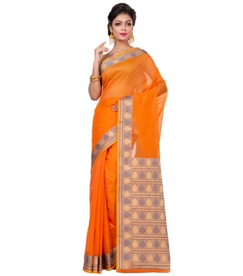 Orange woven blended cotton saree with blouse