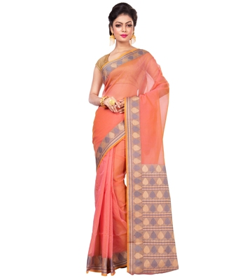 Pink woven blended cotton saree with blouse