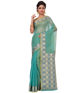 Maroon woven blended cotton saree with blouse