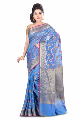 Blue hand woven blended cotton saree with blouse