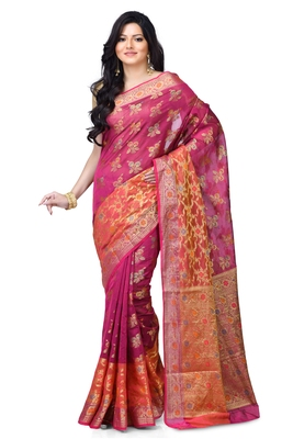 Pink hand woven blended cotton saree with blouse
