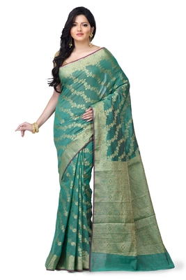 Green hand woven linen saree with blouse