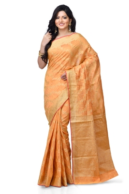Gold hand woven linen saree with blouse