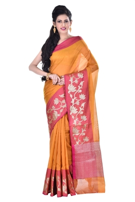 Mustard woven blended cotton saree with blouse
