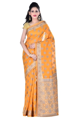 Mustard hand woven blended cotton saree with blouse