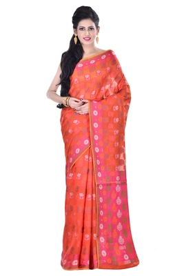 Maroon hand woven blended cotton saree with blouse