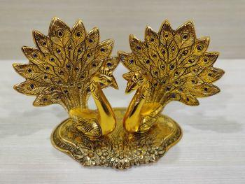 GiftNagri Golden Oxidized Pair of Kissing Peacock Showpiece