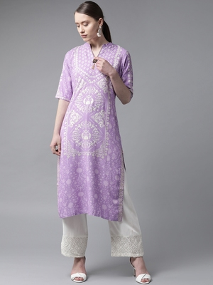 Purple printed liva ethnic-kurtis