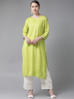 Lemon plain liva ethnic-kurtis