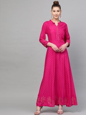 Pink printed liva long-kurtis