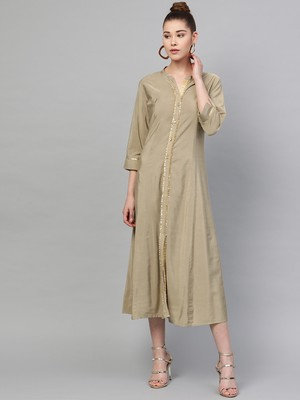 Beige plain polyester long-kurtis