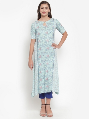 Indibelle Blue printed rayon kurtas-and-kurtis