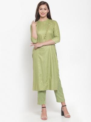 Indibelle Green printed rayon kurtas-and-kurtis