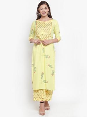 Indibelle Yellow printed rayon kurtas-and-kurtis