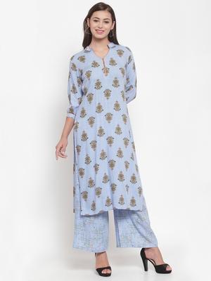 Indibelle Blue printed cotton kurtas-and-kurtis