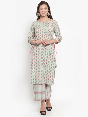 Indibelle Green printed cotton kurtas-and-kurtis