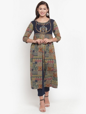 Indibelle Multicolor printed cotton kurtas-and-kurtis