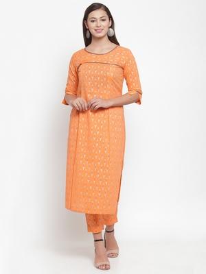 Indibelle Orange printed cotton kurtas-and-kurtis