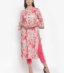 Indibelle Pink printed rayon kurtas-and-kurtis