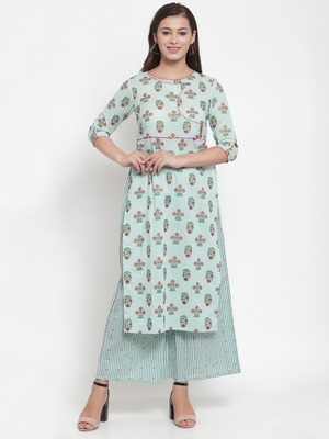 Indibelle Green printed cotton kurtas-and-kurtis